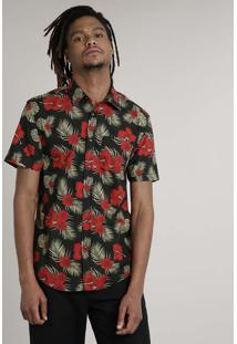 Camisa Masculina Tradicional Estampada Floral Com Bolso Manga Curta Preta
