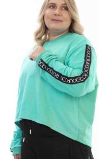 Casaco Plus Size Rosa Dourada Cropped Alongado Costas - Feminino-Azul Turquesa