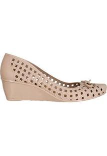 Sapato Fem Injetado Anabela C Lacinho E Pin 66635024