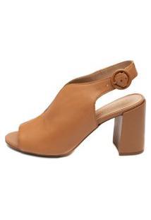 Ankle Boot Giulia Domna Em Couro Caramelo