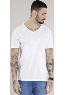 Camiseta Masculina Básica Flamê Manga Curta Gola V Branca