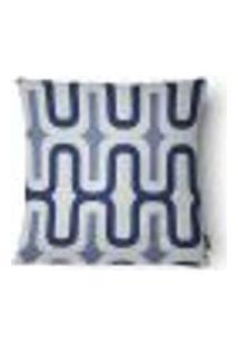Capa Para Almofada Estampada Sarja 43X43Cm Azul E Branco