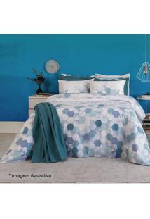 Jogo De Cama Home Design King Size- Azul & Azul Claro
