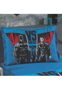 Porta Travesseiro Estampado Com Barras Laterais Batman X Superman 02 1 Peça - 100% Algodão - Dohler