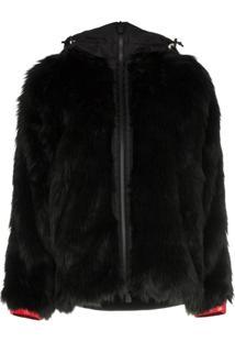 Moncler Grenoble Faux Fur Hooded Jacket - Preto