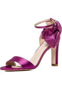 Sandália Durval Calçados Festa Cetim Salto Confortável Rg8804 Pink