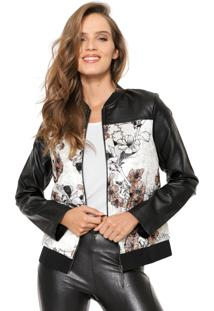 Jaqueta Bomber My Favorite Thing(S) Veludo Floral Off-White/Preta