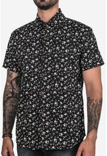 Camisa Micro Floral Preta 200322