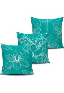 Kit 3 Capas Almofadas Floral Nativa Azul Tifani 45X45Cm - Tricae
