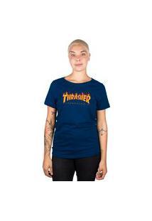 Camiseta Thrasher Magazine Feminina Flame Logo Azul Marinho