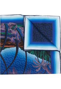 Casablanca Lenço De Seda Com Estampa Gráfica - Azul