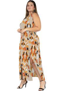 Vestido Longo Étnico Laranja Fendas Plus Size