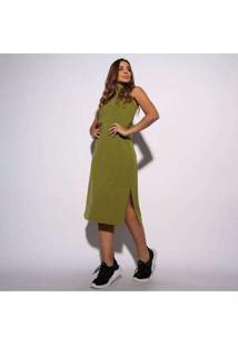 Vestido Canelado Verde Militar Com Fenda Vt063