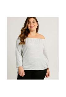 Blusa Plus Size Ciganinha Feminina Listrada Marisa