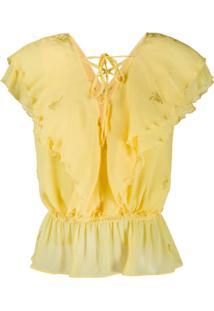 Liu Jo Blusa Com Babados - Amarelo