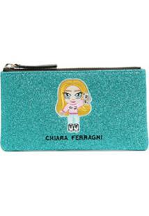 Chiara Ferragni Clutch Com Logo E Glitter - Azul