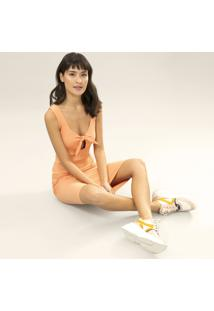 Vestido Mídi Recorte Laço Salmao Crepon - Lez A Lez