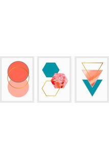 Conjunto Com 3 Quadros Decorativos Geometrico Harmonioso L Colorido