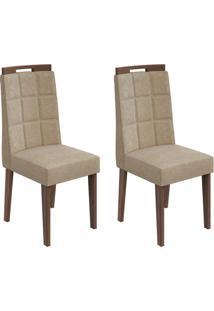 Conjunto De Cadeiras De Jantar 2 Nevada Veludo Rovere E Bege