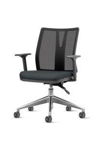 Cadeira Addit Assento Crepe Preto Com Base Piramidal Em Aluminio - 54120 Preto