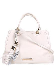 Bolsa Couro Jorge Bischoff Handbag Barbicachos Feminina - Feminino-Off White