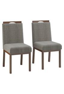Conjunto 2 Cadeiras Estofadas C/ Puxador Volttoni Sofia Linho Castanho