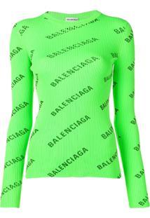 Balenciaga Suéter Com Logo - Verde