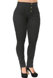 Calça Jeans Escuro Cintura Alta Plus Size