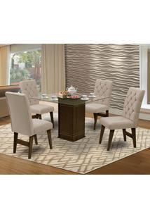Mesa Para Sala De Jantar Saint Louis Com 4 Cadeiras – Dobuê Movelaria - Castanho / Areia