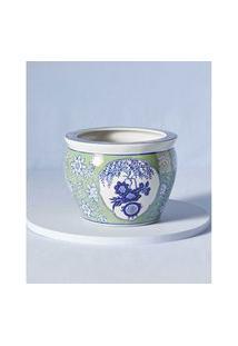 Cachepô Em Cerâmica Estampada Cor: Azul - Tamanho: Único