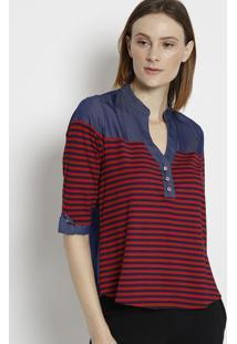 Blusa Jeans Com Recortes- Vermelha & Azul Escuro- ÊNãŠNfase