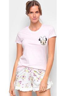 Pijama Curto Evanilda Disney Minnie Feminino - Feminino-Rosa Claro