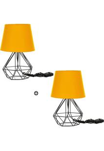 Kit 2 Abajur Diamante Dome Amarelo Com Aramado Preto - Tricae