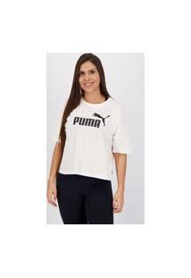 Cropped Puma Ess Logo Feminino Branco
