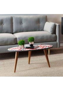 Mesa Oval Retrô – Be Mobiliário - Espresso / Estampa Vermelha