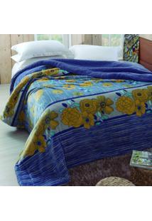 Edredom Casal Dupla Face 1 Peça Flannel Vereda Jolitex Azul/Cinza