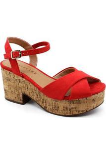 Sandália Plataforma Off Line Feminina - Feminino-Vermelho