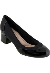 Sapato Modare Preto Em Sintético Verniz