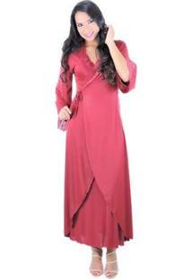 Robe Longo Em Liganete E Renda Sereia - Feminino-Vermelho