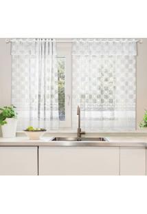 Cortina Com Ilhós Para Cozinha Mari Branca (120X130)
