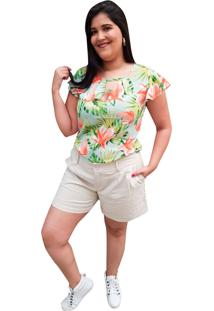 Blusa Crepe Linda D+ Floral Verde (5026) - Kanui