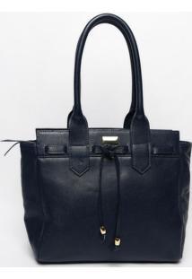 Bolsa Em Couro Cordão- Azul Marinho & Dourada- 30X43Anette