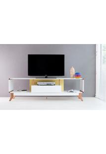 Rack Tv Retrô Vintage Branco/Amarelo Prestage 1 Gaveta 1,8M Mdf Com Pés Madeira Cor Jatobá - 180X40X55 Cm