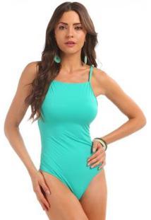 Maiô Sem Costura Manly - Feminino-Verde Água