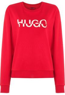 Hugo Hugo Boss Blusa De Moletom Com Logo - Vermelho