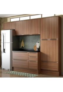 Cozinha Compacta 11 Portas Com Tampo E Rodapé 5458R Nogueira/Malt - Multimóveis