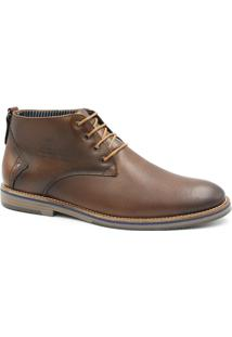Bota Zariff Shoes Social Em Couro Cadarço Masculina - Masculino-Marrom