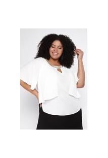 Blusa Almaria Plus Size Pianeta Creponada Sobreposição Off-White