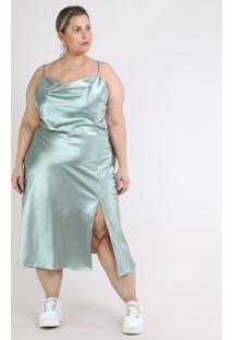 Vestido Feminino Mindset Slip Dress Plus Size Midi Acetinado Alças Finas Com Fenda Verde Claro