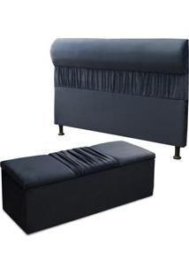 Cabeceira Mais Calçadeira Baú Solteiro 90Cm Para Cama Box Vitória Suede Azul - Ds Móveis - Kanui